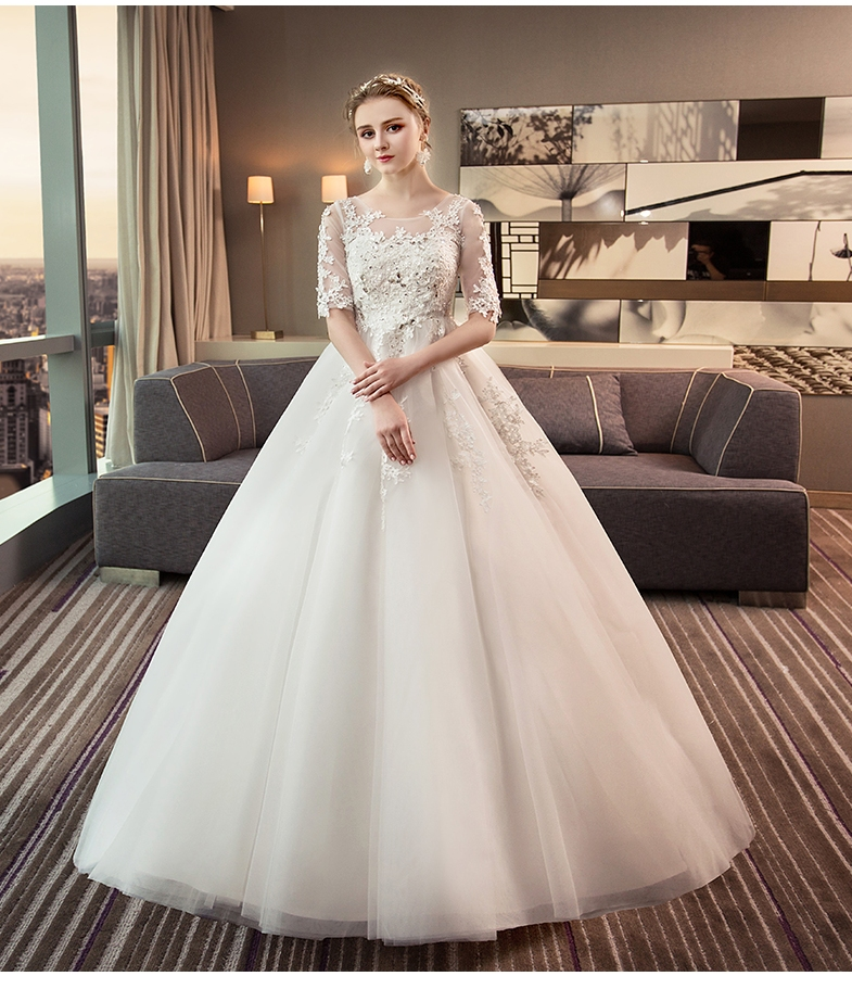 New Romantic Boat Neck Elegant Princess Wedding Dress Half Sleeves Appliques Celebrity Ball Gown vestido De Noiva in Wedding Dresses from Weddings Events