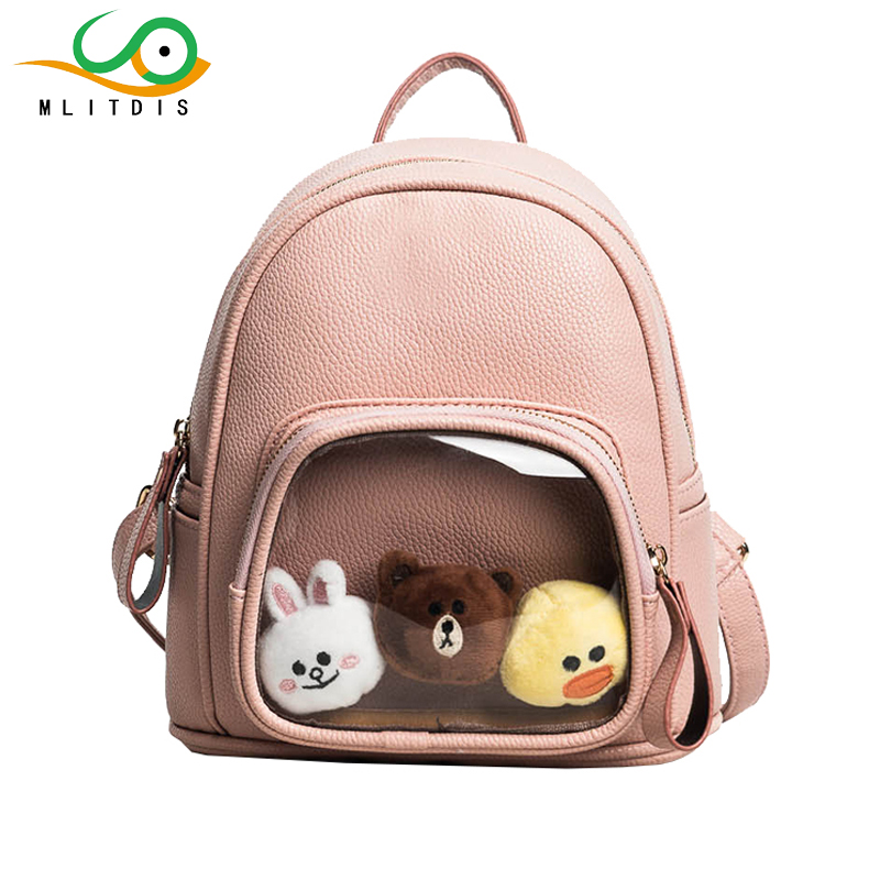MLITDIS Gift 3 Dolls Mini Backpack Women Bags Leather Woman Solid Color Backpacks For Teenage Girls