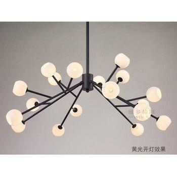 Candelabros negros modernos grandes 18 cabezas luces de techo de interior candelabro con linterna de cristal esmerilado blanco