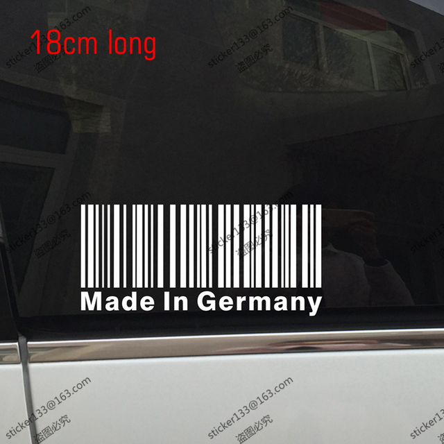 18cm long made in germany barcode car funny decal sticker jdm vinyl die cut
