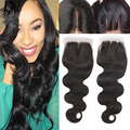 8A Brazilian Body Wave 4x4 Free/Middle/Three Part Lace Closure Queen Brazilian Human Virgin Hair Lace Closure Bleached Knots