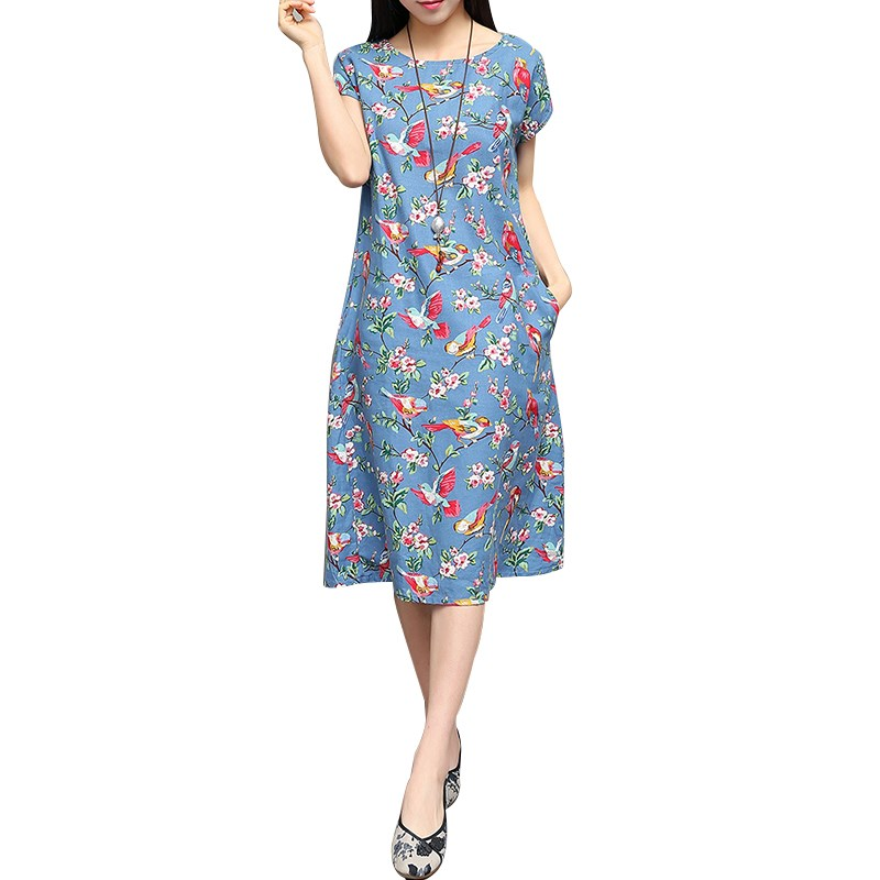 2016 Summer Fashion Women Ladies O Neck Short Sleeve Blue Black Birds Floral Print Loose Cotton