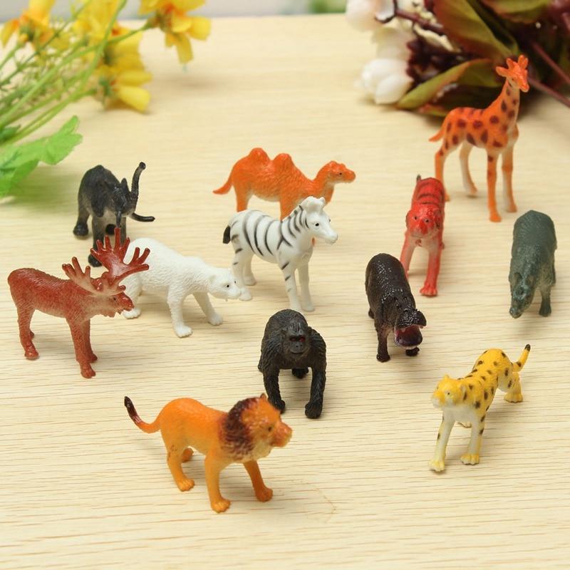 12pcs Set Plastic Zoo Animal Figure Tiger Leopard Hippo Giraffe Kids