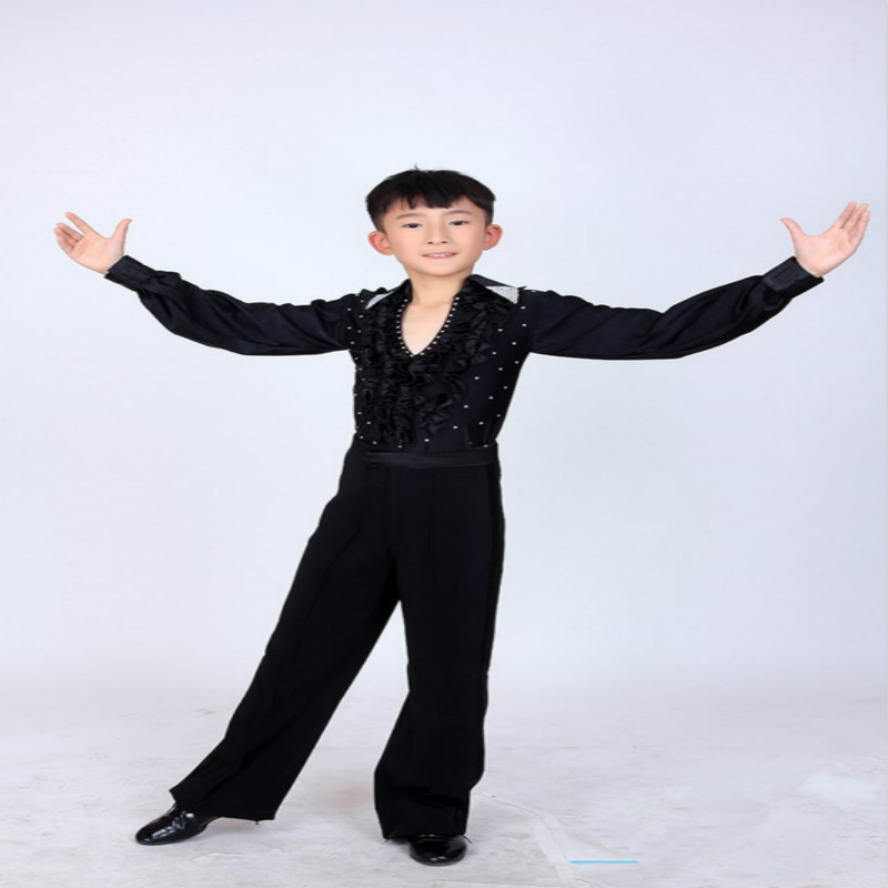 Boy Latin Dancewear Latin Dance Exercise clothes Ruffly Ballroom Stage Modern Boys Latin Dance training Clothes Shirt+pants child female slim stripe color new modern dance dress latin stage up to 1940