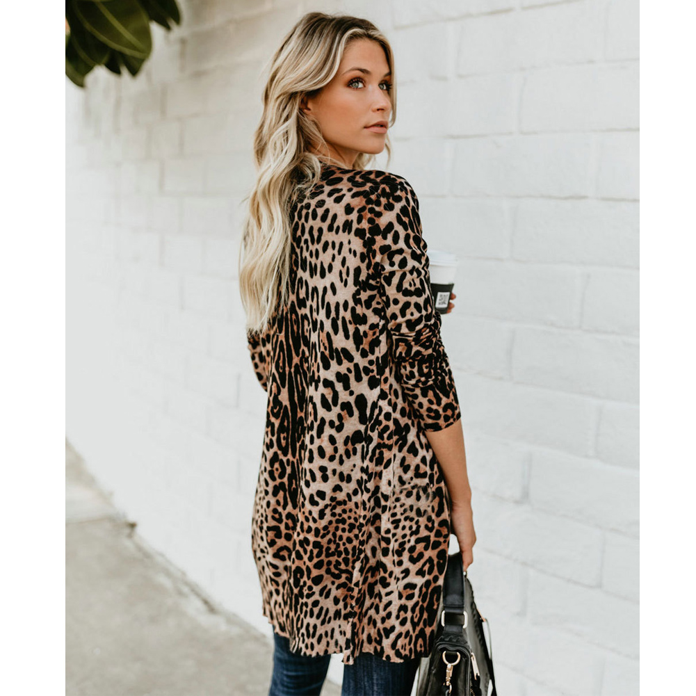 HTB1mAg7awZupeRjt jqq6AfAFXa8 Jackets 2018 Hot Autumn Classic New Fashion Women V Collar Long Sleeve Leopard print Coat Jacket S-XL