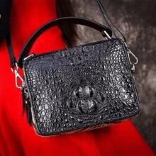 91c6ebf50974 Лоскутное Дизайнер из натуральной крокодиловой кожи питона Для женщин  небольшая коробка сумка женский кошелек дамы Кроссбоди