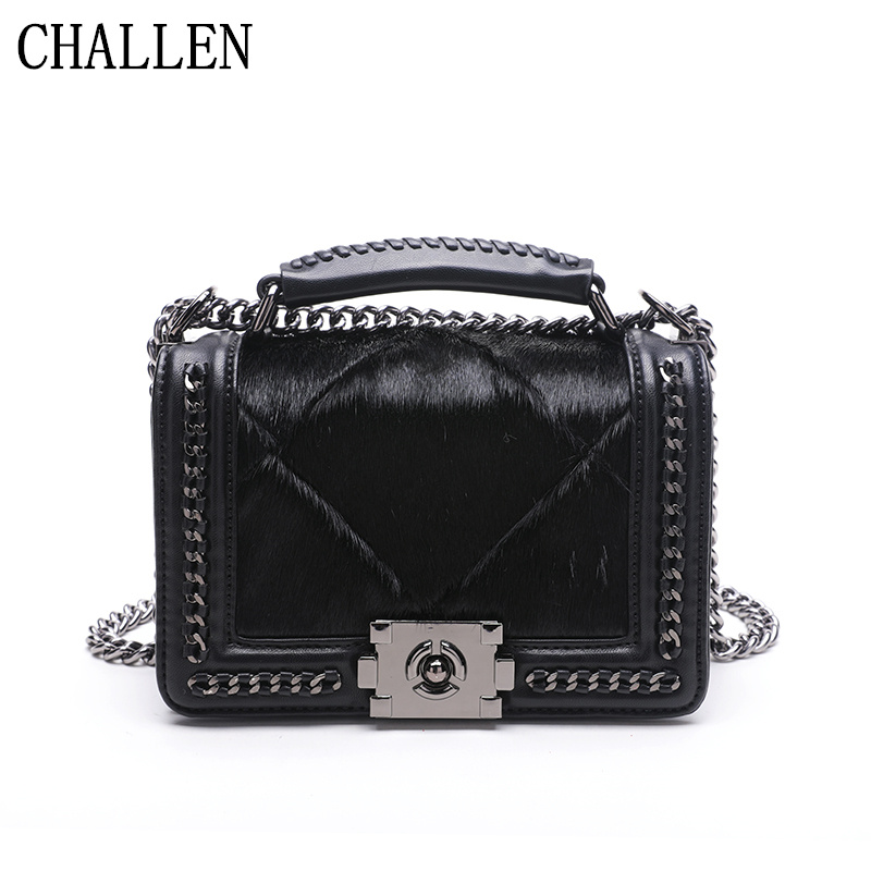 2018 luxury handbags women bags designer new wild fashion horse hair Ling chain shoulder bag diagonal package women's handbags women messenger bags designer handbags high quality 2017 new belt portable handbag retro wild shoulder diagonal package bolsa