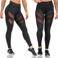 2017 Women Sexy Skinny Trousers Mesh Patchwork See Through Casual Solid Slim Long Pants Sexy Stretch Elastic Waist Leggings
