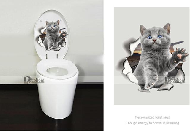 Otwór widok kot pies 3D ściana naklejka łazienka toaleta Pokój dziecięcy dekoracja Naklejki ścienne naklejka lodówka wodoodporny plakat tanie i dobre opinie Naklejki okienne ścienne przełączniki panelowe naklejki toaletowe do płytek naklejki meblowe do lodówki Jednoczęściowy pakiet