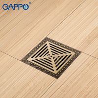 GAPPO Drains Shower Floor Drains Floor Cover Antique Brass Drain Chrome Plugs Bathroom Drain Stopper