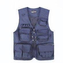 Hyweacvar Vest Men's Multi Pocket Electrician Studio Safari Style Vest Waistcoat Breathable Detachable Mesh Back Navy Blue