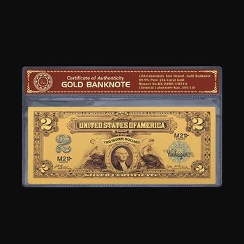 Купюры с золотым покрытием 1899 долларов США, Купюры в 24 к золотом долларах США, фальшивые Купюры в подарок и коллекции