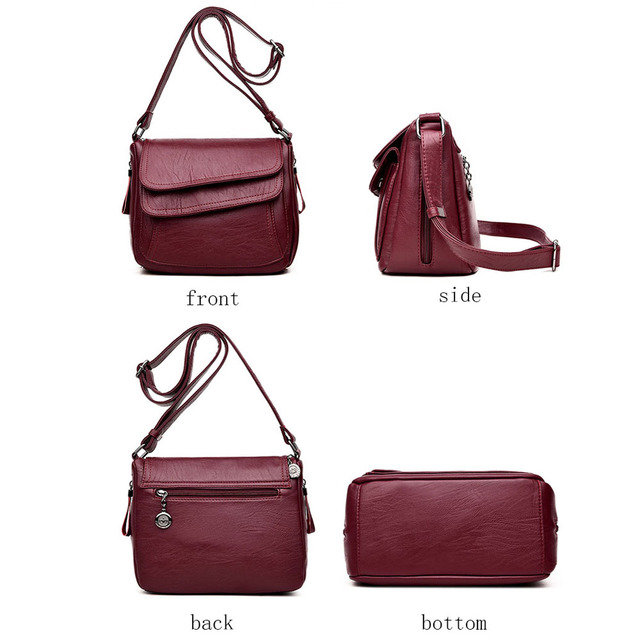 Hot Women Leather Messenger Bag Luxury Handbags Designer High Quality Female Vintage Crossbody Bags For Women Flap Shoulder Bags