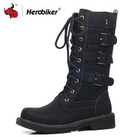HEROBIKER Motorcycle Boots Moto Boots Men Artificial Leather Motocross Boots Black Motorbike Riding Shoes Accessories