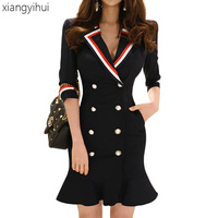 Casual Woman Blazer Formal Dress For Work Summer Autumn Double breasted Ruffles 3/4 Sleeve Dark Blue Pencil Mini Dresses 2018