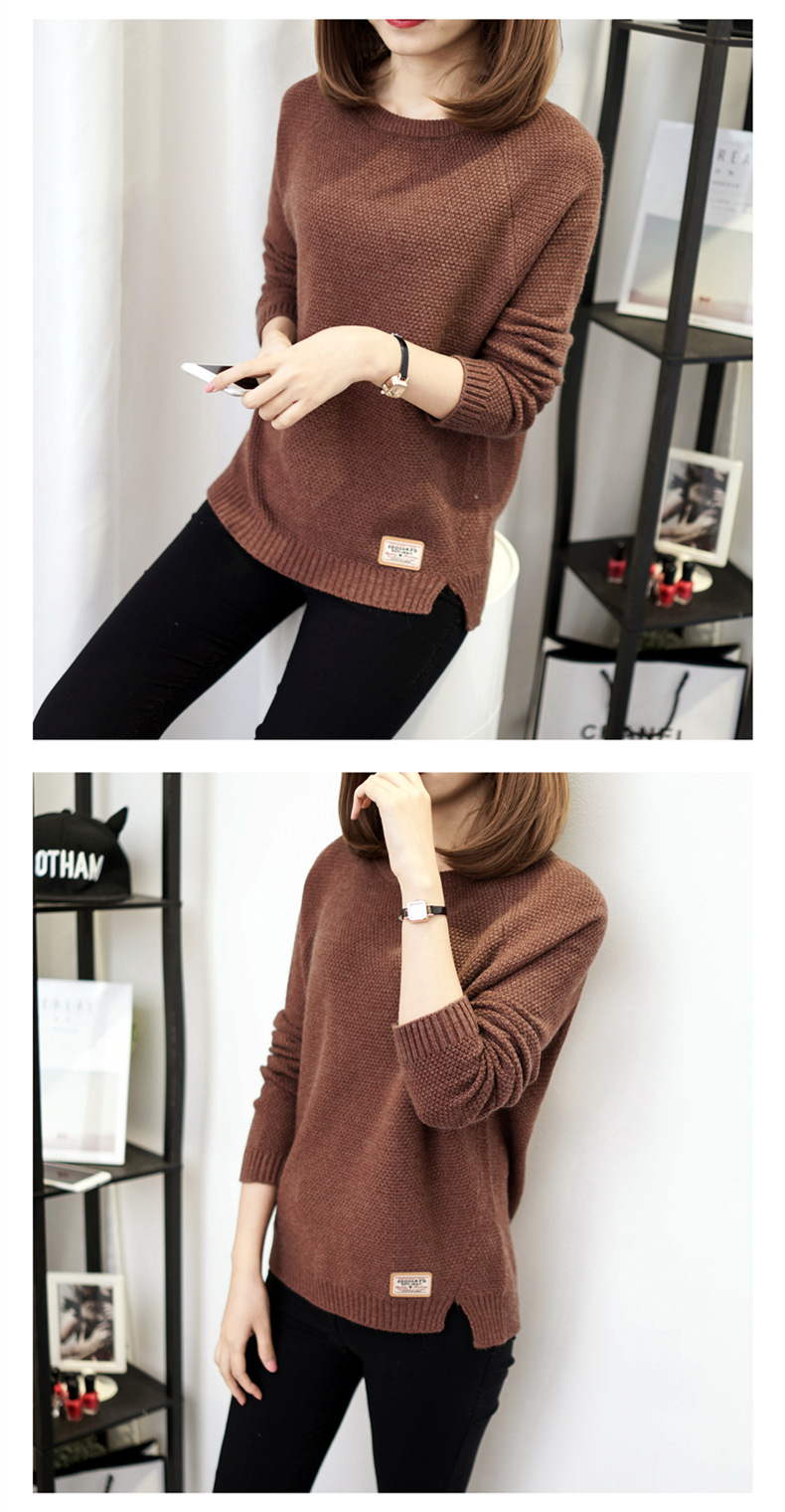 Autumn sweater 19 Winter women fashion sexy o-neck Casual women sweaters and pullover warm Long sleeve Knitted Sweater 7