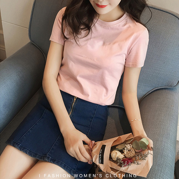 Vana Javeasen Simple Tops T-shirt For Women Korea Casual T-shirt Black White Tees For Women Clothes T Shirt Loose Tops Summer