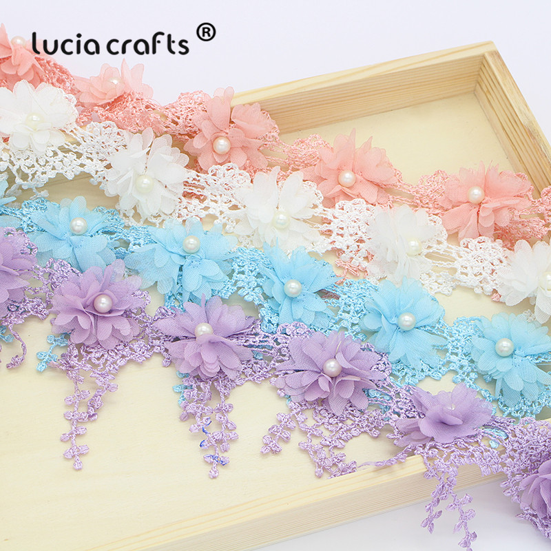 1yards/lot 7cm Flower Embroidery Lace Fabric Trim Ribbons DIY Sewing Garment Handmade Materials Accessories N0502
