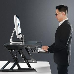 Image 5 - Hyvarwey ID 36 EasyUp 高さ調整座るスタンドデスクライザー折りたたみノートパソコンデスクノートパソコンテーブル/モニターホルダーとスタンドキーボードトレイ