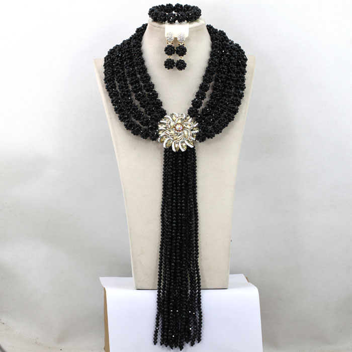 Gorgeous Black Beads Necklace Women Fashion Jewelry Set 4 layers Crystal Balls Statement Necklace Set Wedding Beads Set QW050Gorgeous Black Beads Necklace Women Fashion Jewelry Set 4 layers Crystal Balls Statement Necklace Set Wedding Beads Set QW050