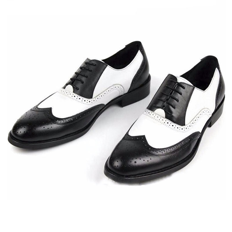 32c9252b1f99 Black and White Mens Shoes Dress Genuine Leather Oxford Shoes For Men  Casual Formal Luxury Wingtip Men Brougues Oxfords Shoes-in Formal Shoes  from Shoes on ...