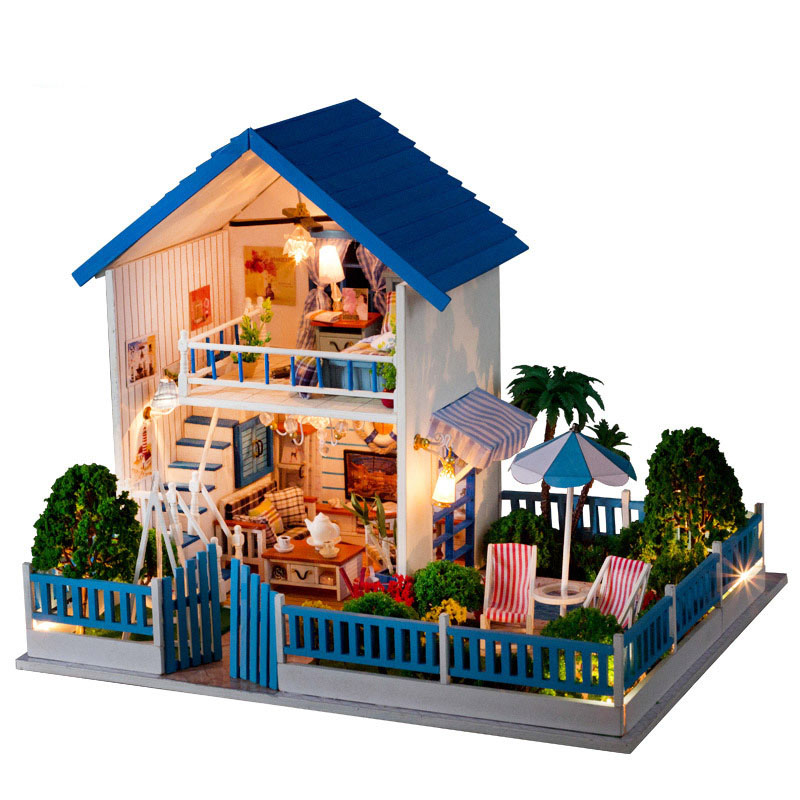 Miniature Seaside Villa With Pool Wooden House Model DIY Dollhouse Furniture Doll House LED Light Handmade Xmas Birthday Gift