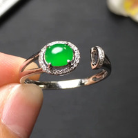 Fine Jewelry Collection Real 18K White Gold AU750 100% Natural Green Jade Gemstone Rings Burma Origin for Women Gift