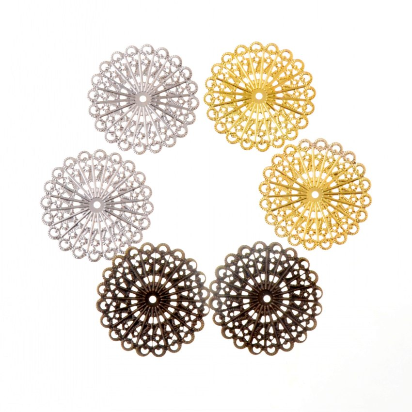 50PCS Bronze Filigree Flower Connectors Crafts DIY Jewelry Making Accessories GN