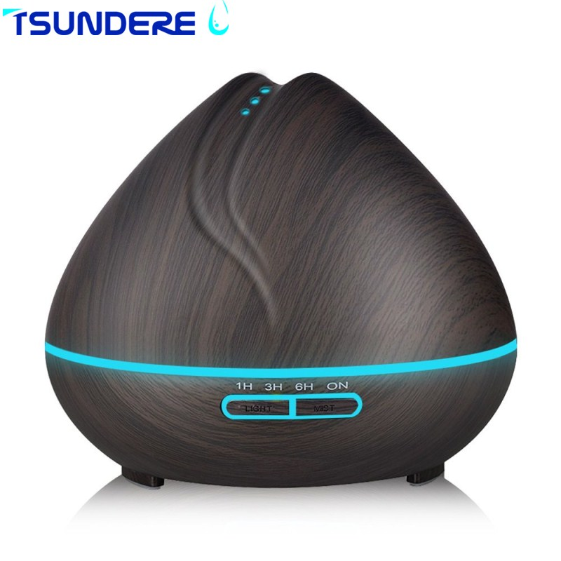 TSUNDERE L Aroma Essential Oil Diffuser Ultrasonic Air Humidifier With Wood Grain And Beautiful Color Changing
