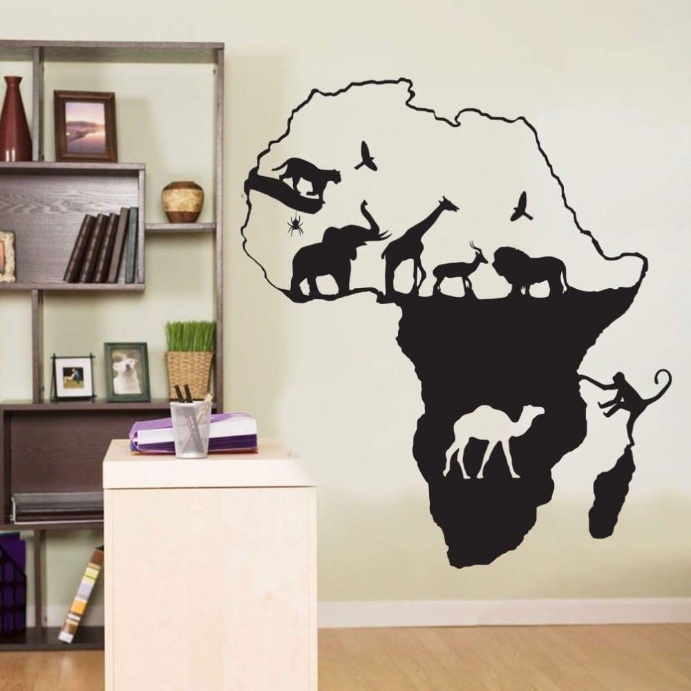 African Wall Decal Africa Animals Safari Elephant Giraffe Mural Wall Sticker Animal Map Wall Sticker Bedroom Home decoration-in Wall Stickers from Home ... & African Wall Decal Africa Animals Safari Elephant Giraffe Mural Wall ...