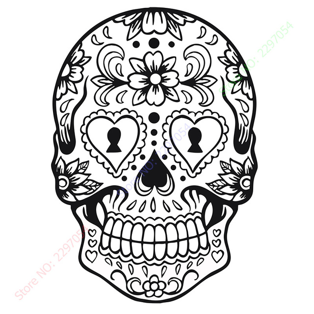 happy halloween sugar skull version 6 graphic living room vinyl carving wall decal sticker for holiday - Sugar Candy Skulls Coloring Pages