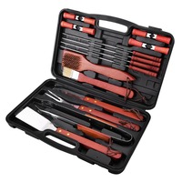 18Pcs/set Stainless Steel Barbecue Set Premium Material Non toxic Paint Easy to Carry and Clean Gadget With Black Storage Case