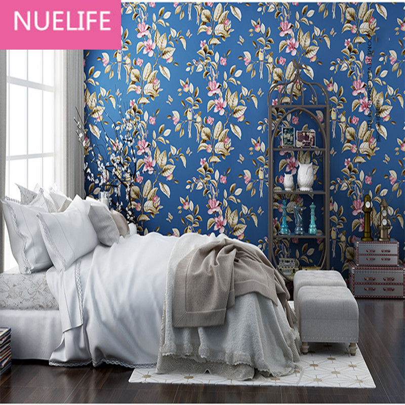 0.53x10 Meter garden flowers and birds pattern  village wallpaper wedding room bedroom living room  non - woven paper wallpaper 2016 new selling non woven wallpaper south east asia imitation embroidery american birds and flowers bedroom tv porch wallpaper