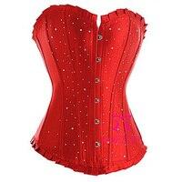 Женская атлас Overbust корсеты красный черный синий фиолетовый Corpete женщины тонкий боди белье интимные сила корсет бесплатная доставка
