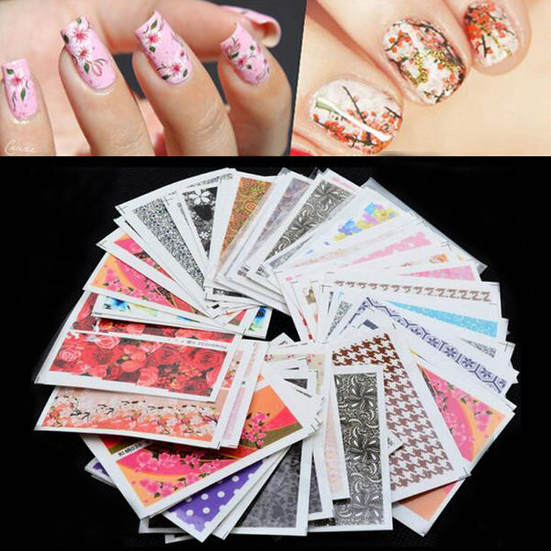 50pcs/pack Mix Nail Art Flower Water Transfer Sticker Nails Beauty Wraps Foil Polish Decals Temporary Tattoos Watermark Sticker flash tattoos sheebani authentic metallic temporary tattoos