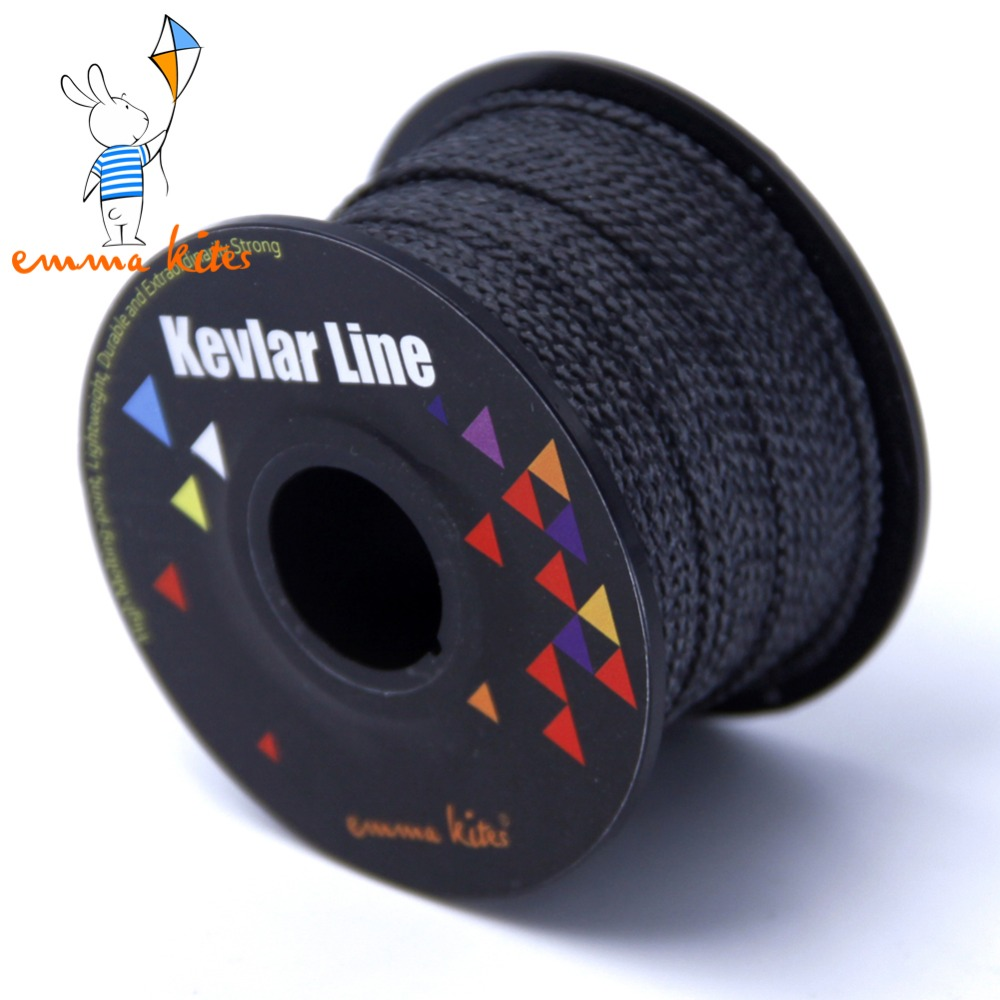 100ft/30m 300lb/500lb Black Kevlar Line Braided Fishing Line Kevlar Fiber Outdoor Power Stunt Kite Line String Cord For Flying emmakites 500ft 152m 1500lb kevlar line for single line kite flying braided fishing line outdoor camping hiking garden cord