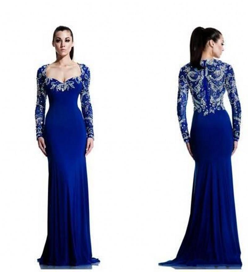 New Evening Dresses Royal Blue Chiffon Beaded Crystal Vestido De ...