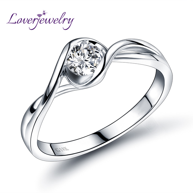 Dia Real 18k White Gold Wedding Diamond Ring For Husband And Wife Fine Jewelry Rings