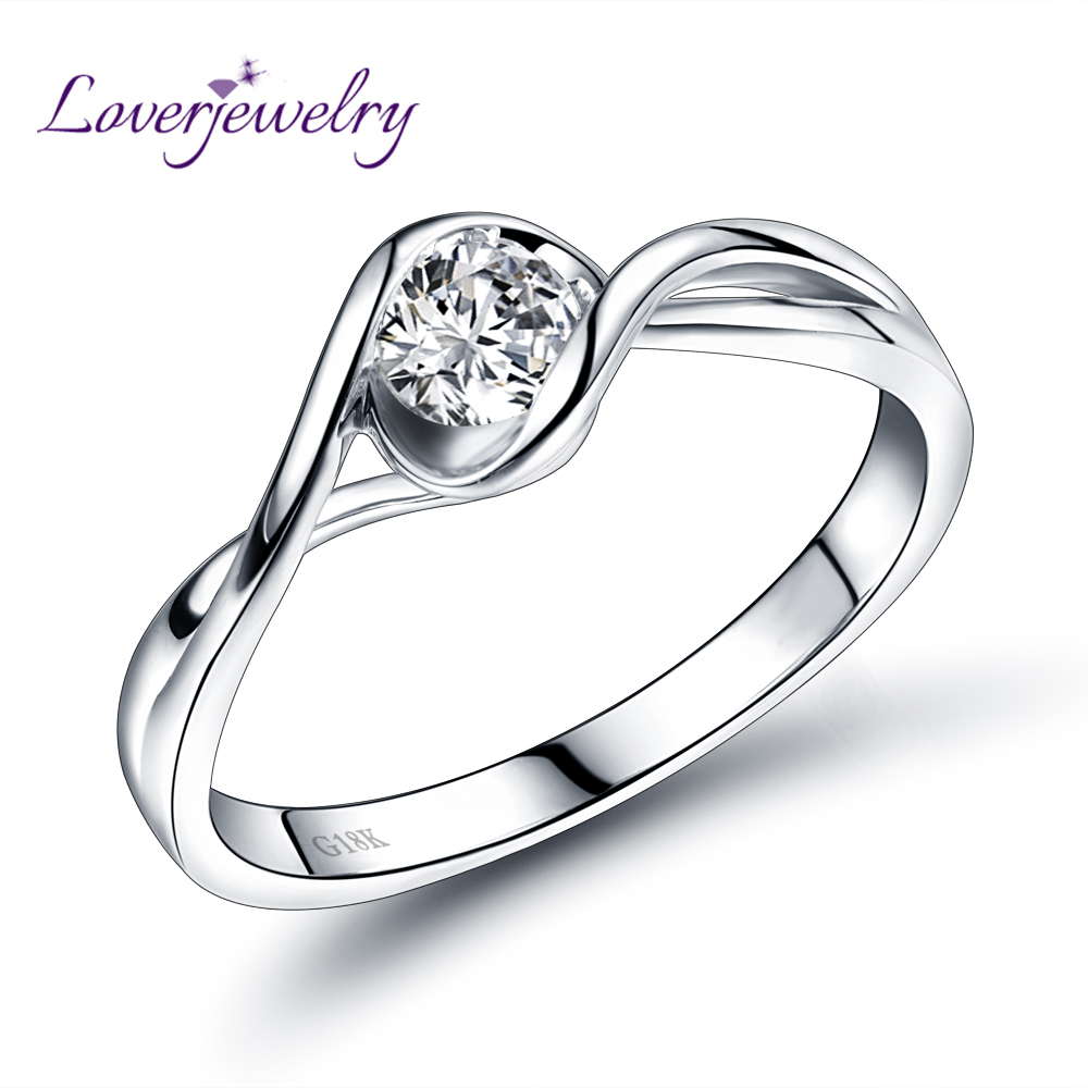 Loverjewelry Real 18k White Gold Wedding Genuine Diamond Ring For Husband And Wife Forever Love Fine Jewelry Gift In Rings From