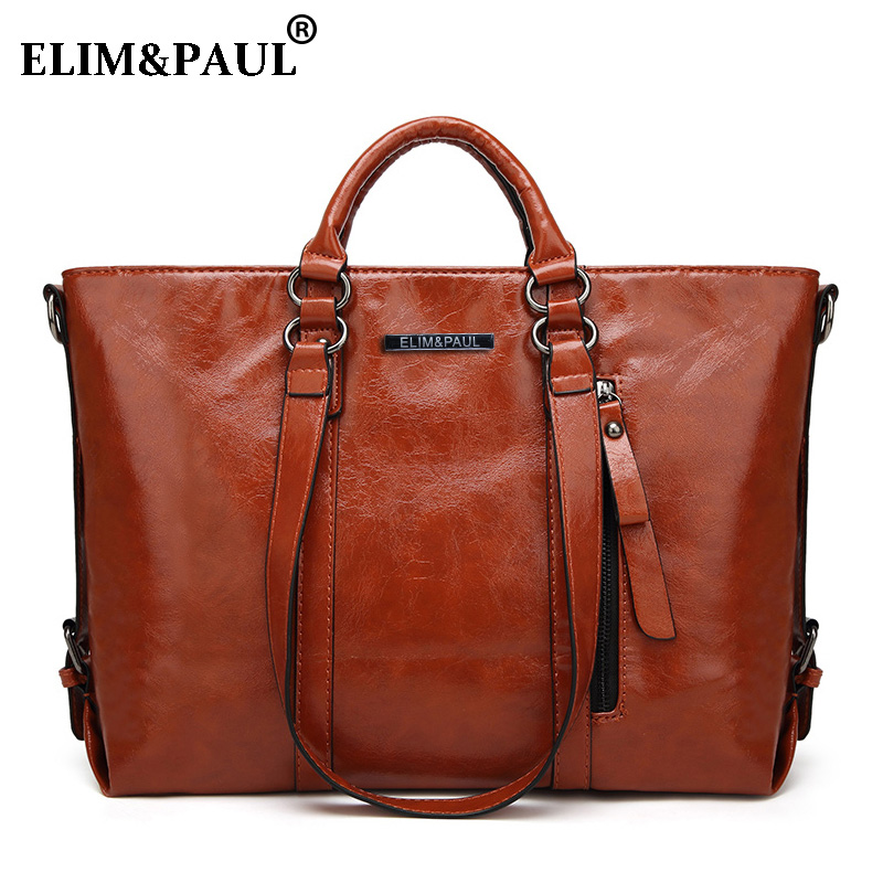 ELIM&PAUL Handbag Messenger bag Womens Tote Women Leather Handbags Business Shoulder Bags Top-Handle Bags Crossbody bolsos sac ...