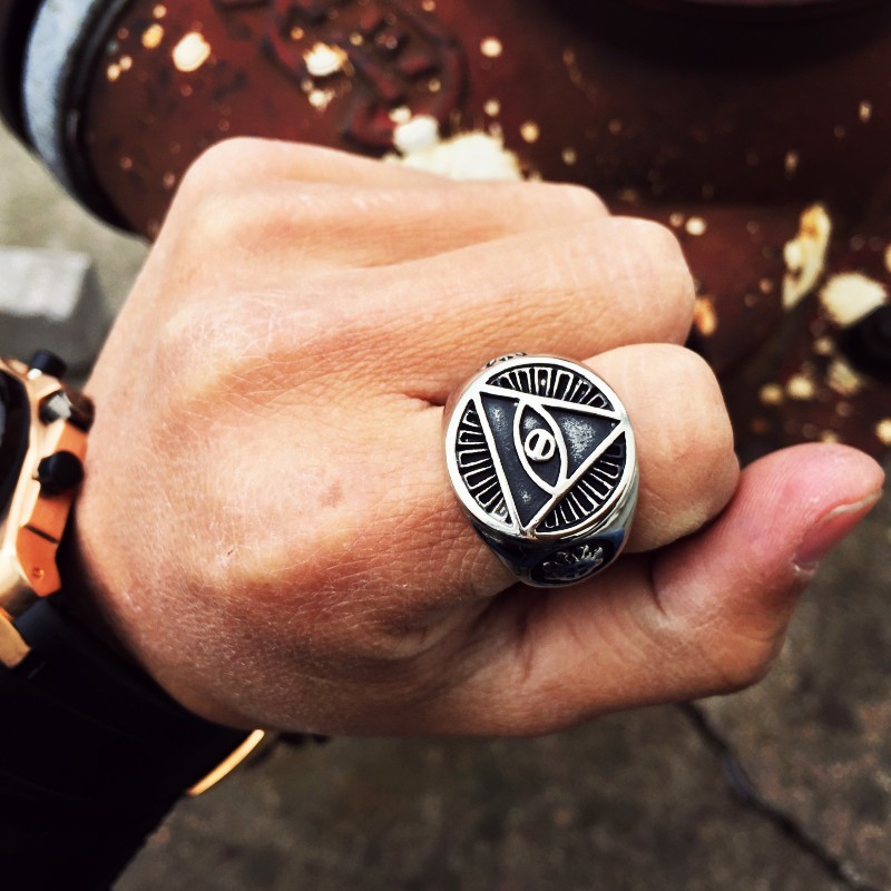 stainless steel ring bikers gothic, Shark jaw ring