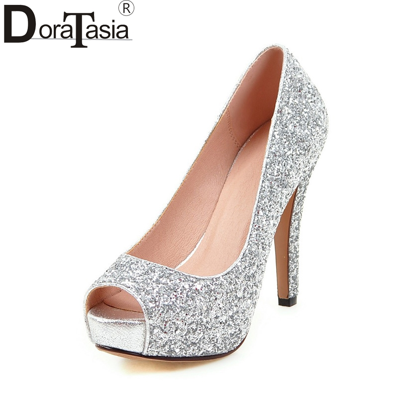 цена на DoraTasia  Big Size 34-43 Peep Toe Platform Women Shoes Woman Sexy Bling Upper Red Black Silver High Heels Party Wedding Pumps