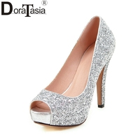 DoraTasia Big Size 34 43 Peep Toe Platform Women Shoes Woman Sexy Bling Upper Red Black Silver High Heels Party Wedding Pumps