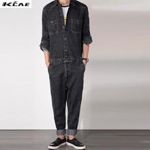 Free Shipping Men 2016 New Fashion Garment Washed Retro Style Jean Jumpsuits Long Sleeve Denim Jumpsuit Plus Size