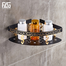FLG Bathroom Shelf Single Tier Triangle basket Bathroom Storage Holder black Space Aluminum Wall Mounted Bathroom Accessories стоимость