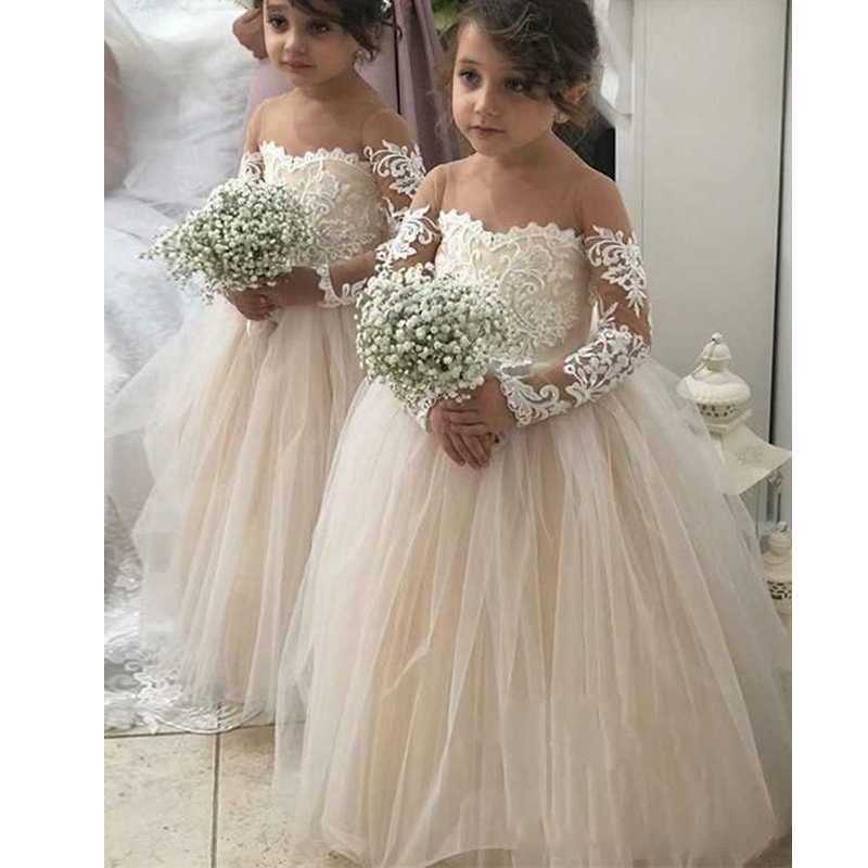 Flower     Girl     Dress   For Wedding Baby   Girl   Pageant   Dresses   Unique Little Princess Ball Gown White Lace First Communion   Dresses
