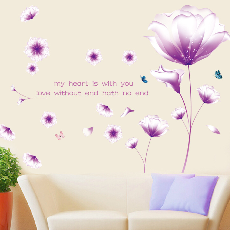 Purple Pollen Removable Wall Art Decal Sticker Diy Home: Aliexpress.com : Buy Romantic Warm Purple Flowers
