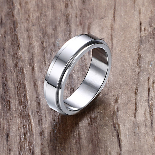 Mens Rings Jewelry In Silver Stainless Steel Ip Spinner Ring Men Wedding Band Anel Bague Aneis
