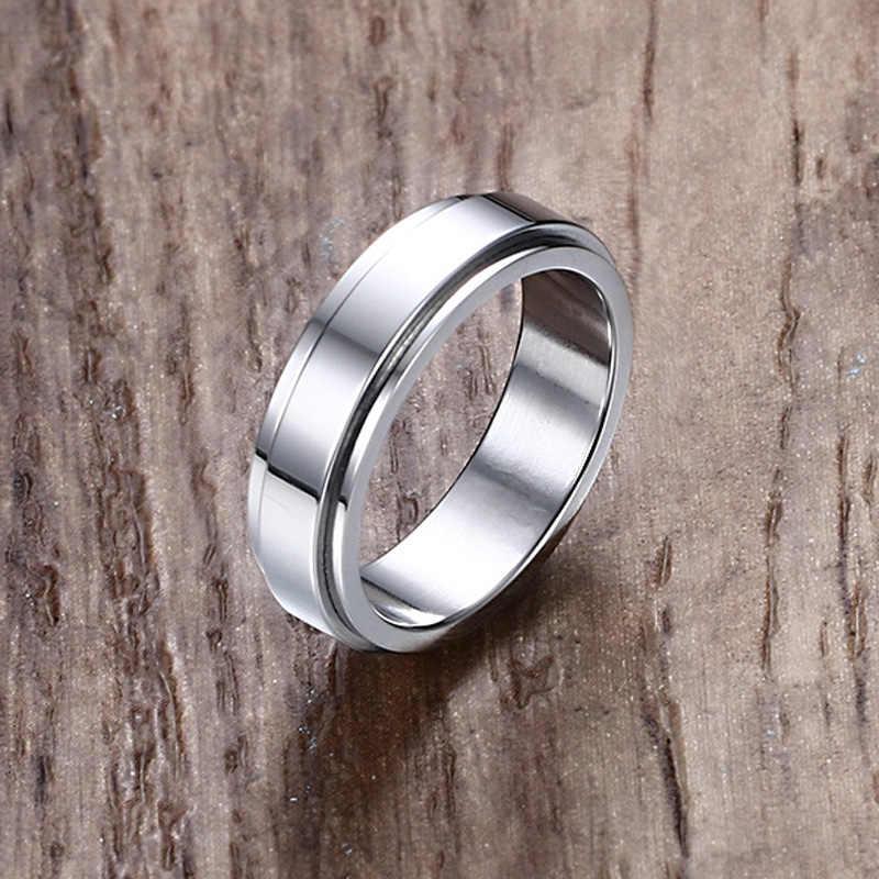 Mens Rings Jewelry In Stainless Steel Ip Spinner Ring Men Wedding
