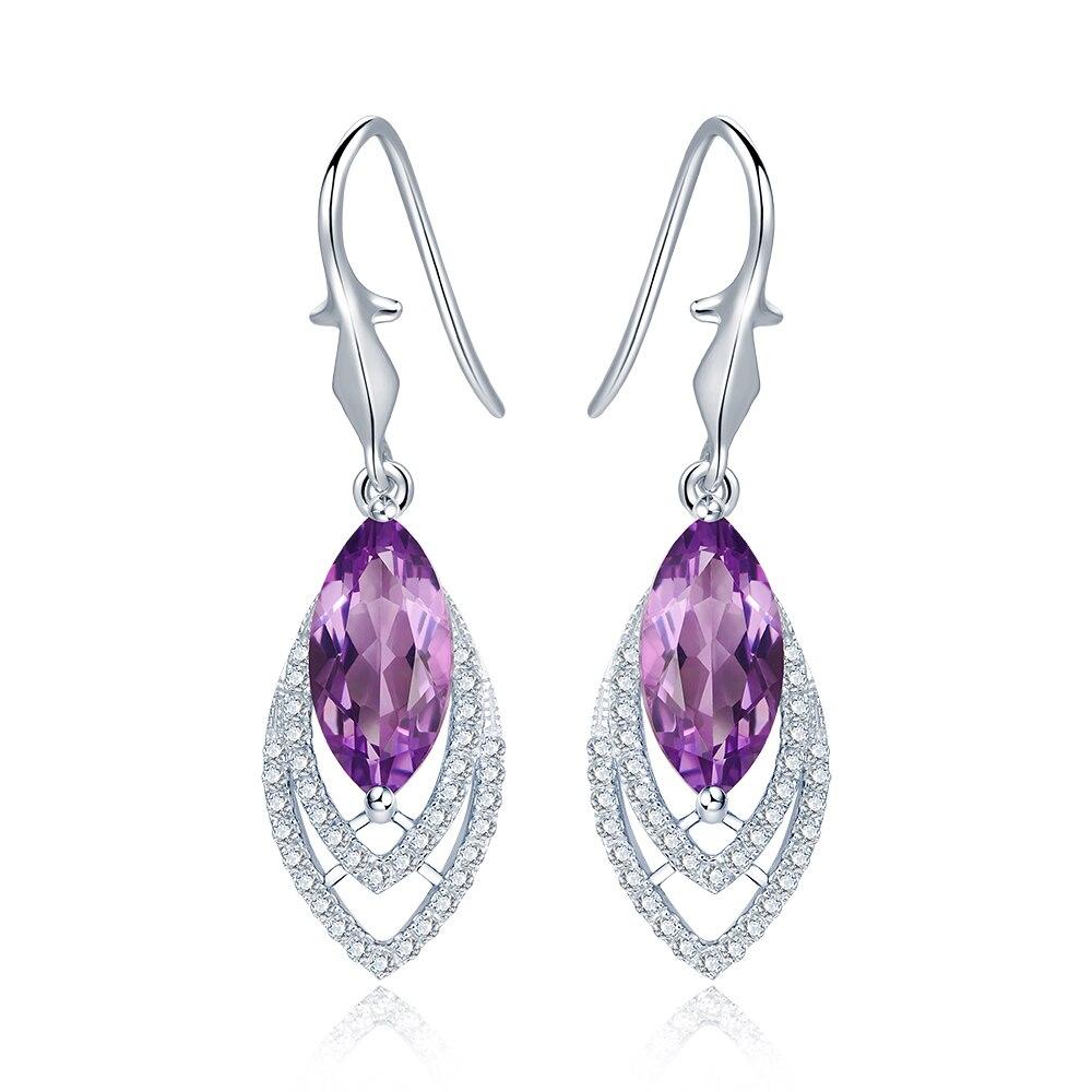 Diva 5ct Natural Purple Amethyst Sterling-silver-jewelry Feather Dangle Earrings diva 5 0ct natural swiss blue topaz sterling silver feather dangle earrings